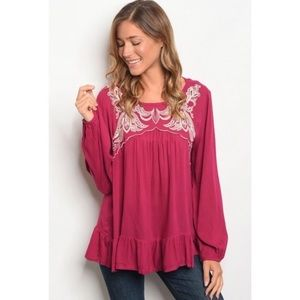Entro Wine Embroidered Detail Tunic